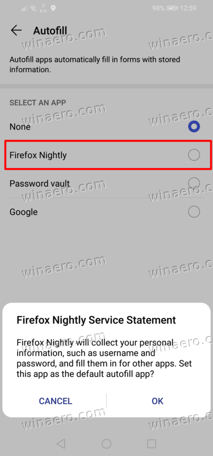 Confirm Firefox as Auto Fill Service