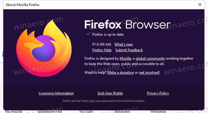 Firefox 91 About Box