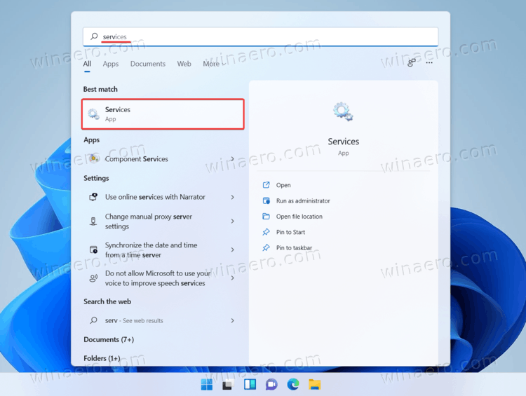 Start The Services Tool In Windows 11 Using Search