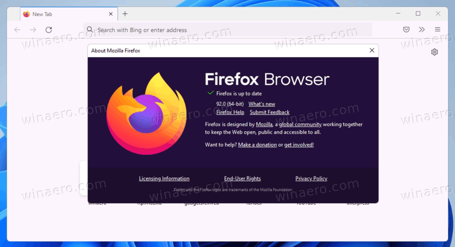 Firefox 92 About