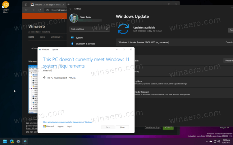 TPM Requirement For A Windows Update Released Build