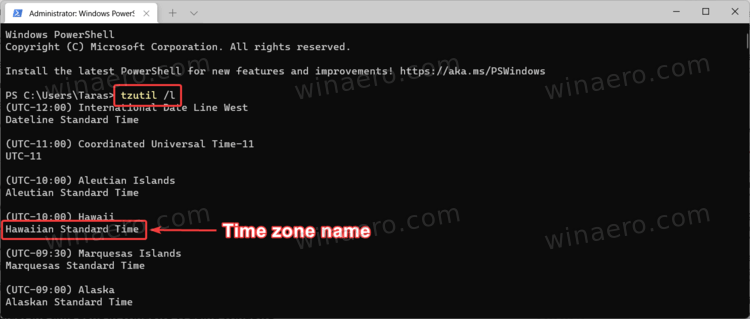 Tzutil list of time zones
