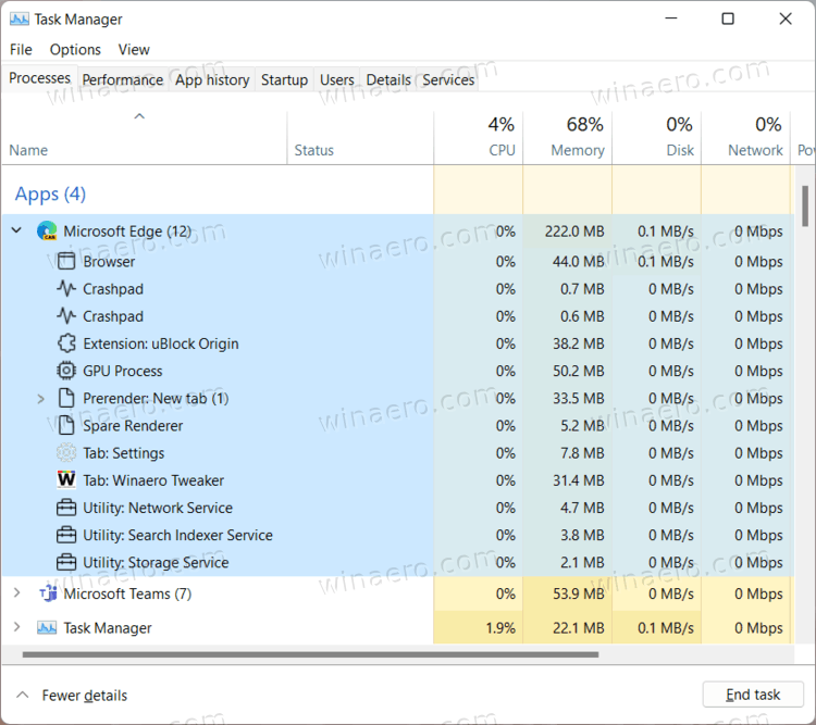 Edge In Task Manager