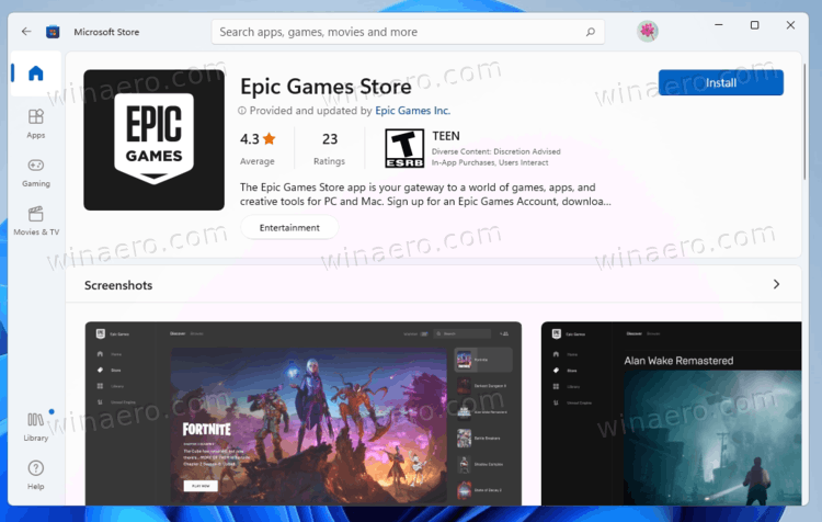 Epic Games Store In Microsoft Store