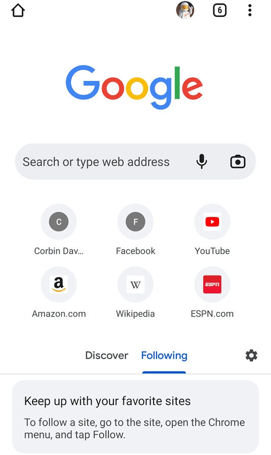 Google RSS Subscription On Start Page Following Section