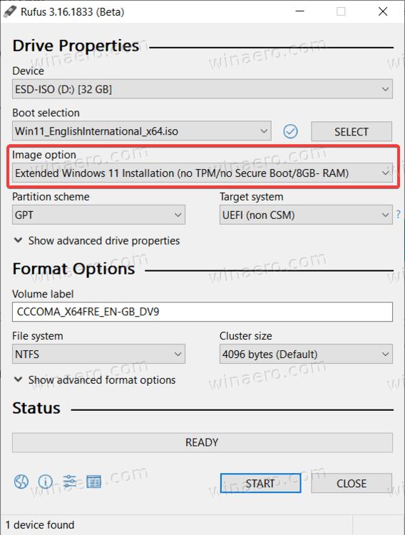 Rufus Windows 11 No TPM
