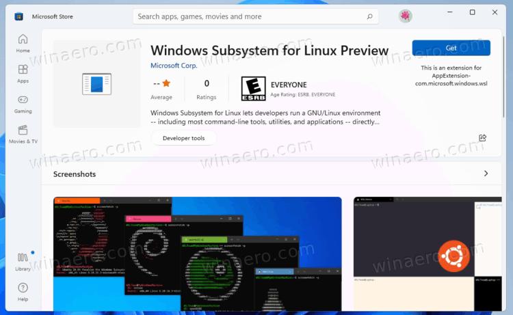 WSL In Microsoft Store