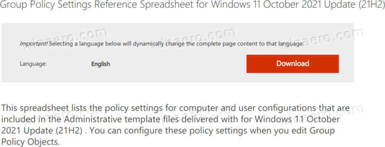 Windows 11 Download Group Policy XLSX Reference Spreadsheet