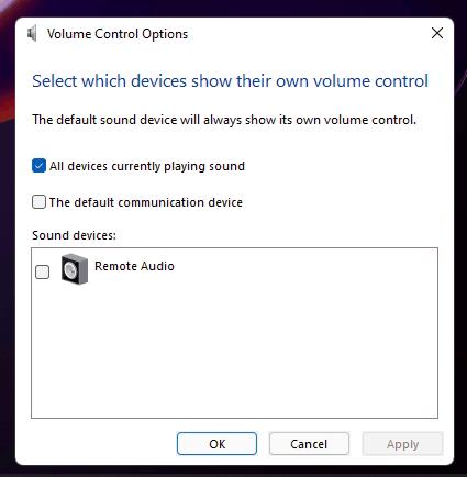 Volume Control Options