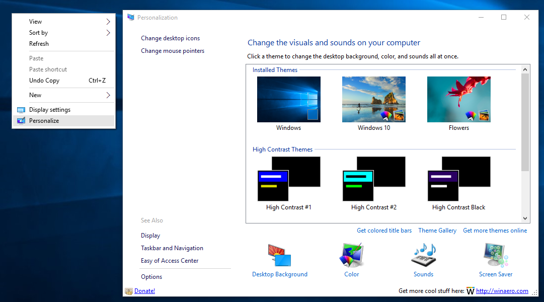 Personalization Panel For Windows 10