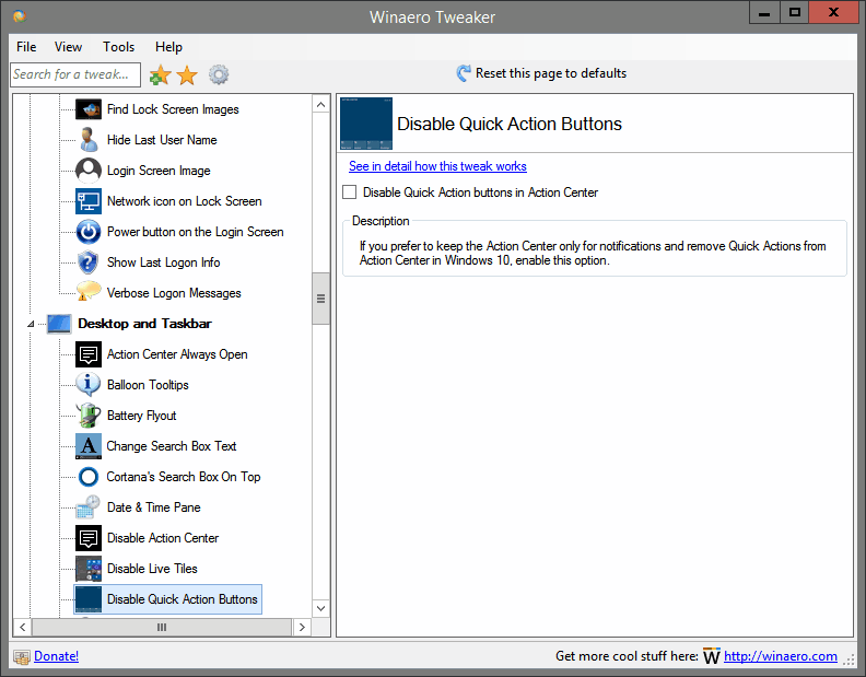 Disable Quick Action Buttons