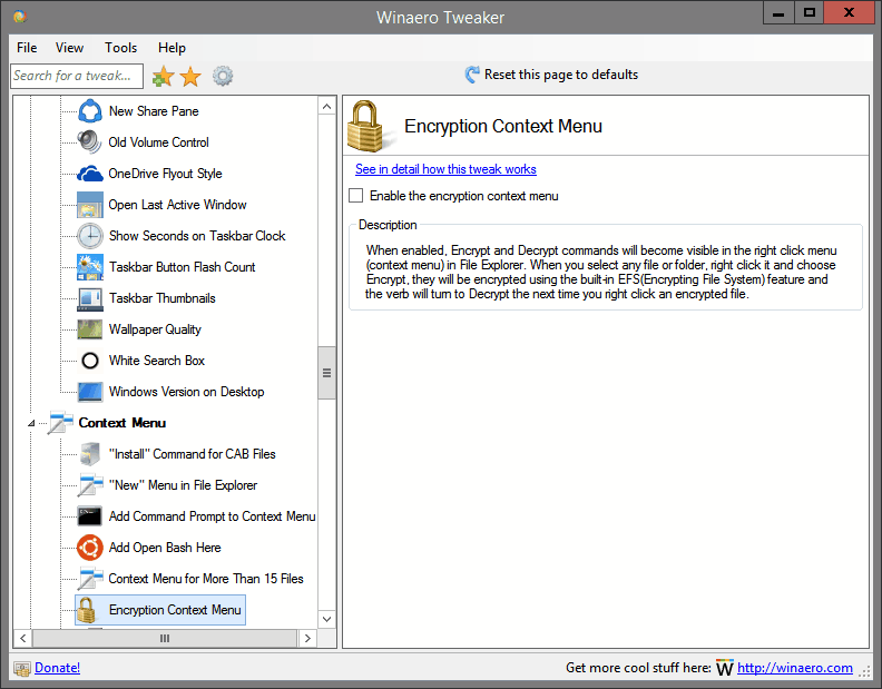 Encryption Context Menu