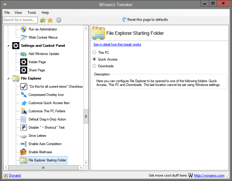 File Explorer Starting Folder