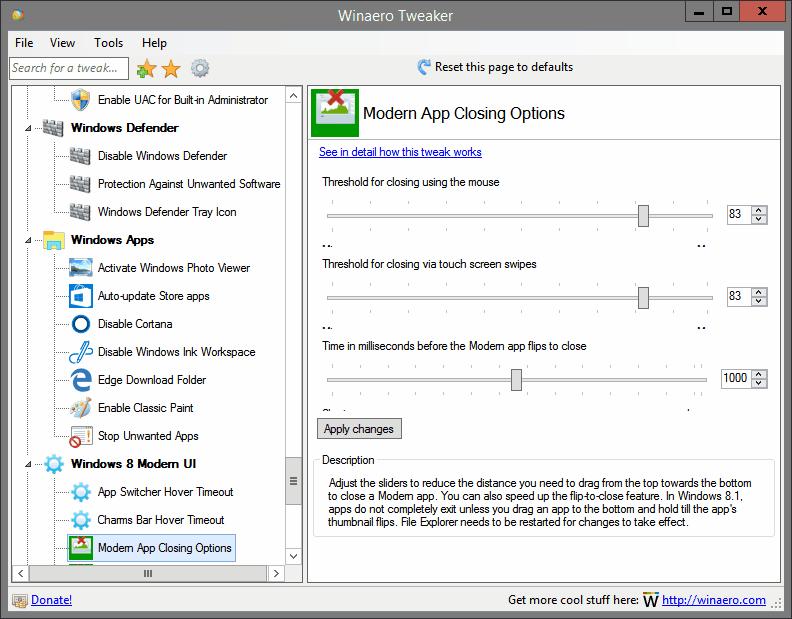 Modern App Closing Options