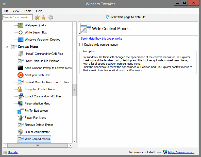 Wide Context Menus